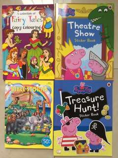 Children Story Colouring Sticker Books