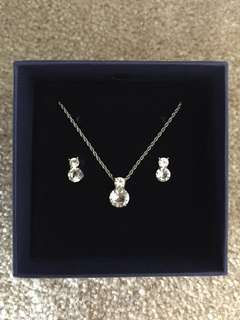 Swarovski Necklace and Earrings Set Rhodium plated
