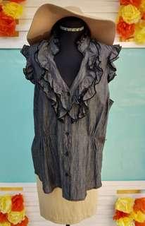Black Ruffle Sleeveless Top