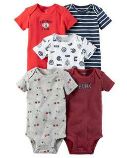Brand New Instock Carter's 5 Pc Short Sleeve Bodysuits Onesies Rompers Boys