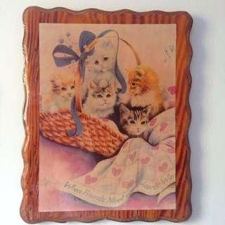 Retro Kitty Wooden Frame.