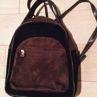 Genuine suede and leather backpack