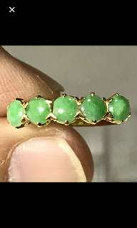 20K/850 Yellow Gold {Collectibles Item - Jade Ring} Gorgeous Vintage Peranakan 20K/850 Yellow Gold Beautiful Genuine Old Jade 老坑玉 Ring