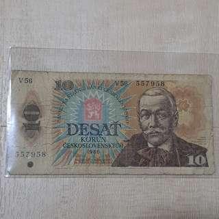 1986 Czechoslovakia 10 Korun Banknote