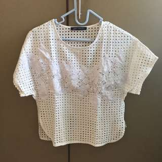 Zara white Embroiderry top