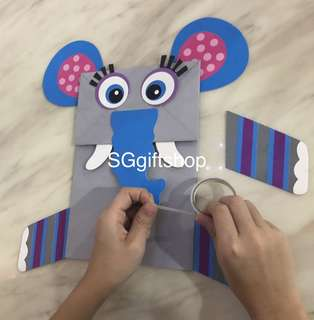Colorful art and craft hand puppet (elephant), party games, goody bag, birthday goodies favors