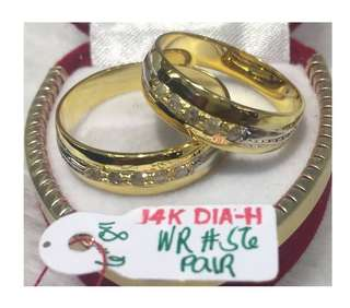 14K Italy Gold Wedding Rings with Real Diamonds