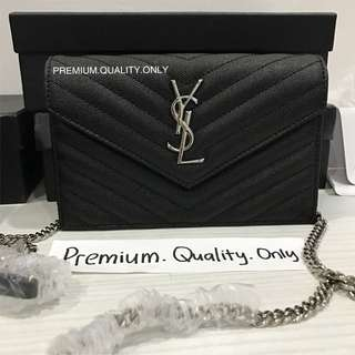 Ready Stock YSL Wallet on Chain - silver black