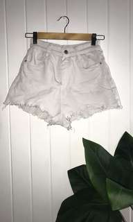 White Distressed Bottom High-Waisted Shorts