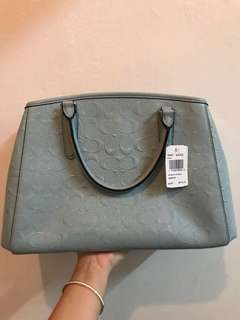 SMALL MARGOT CARRYALL IN SIGNATURE DEBOSSED PATENT LEATHER (COACH F55451) SILVER/AQUA