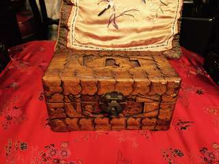 Chinese hand carved wooden chest box