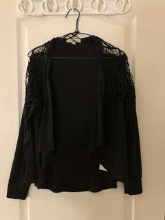 Hallowed out black cardigan