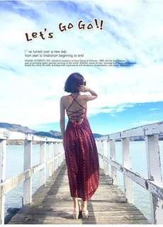 [二手]泰國度假風露背連身裙