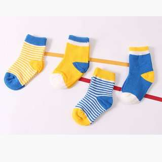 🚚 Instock - 4 pairs yellow assorted socks, baby infant toddler girl boy children sweet kid happy abcdefghijlmno
