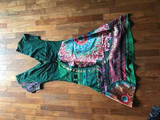 Desigual Green patterned shiny dress
