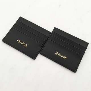 Black Custom card holder personalised cardholder card case minimalist monogram card holder