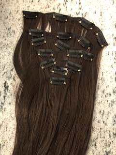 "18"" synthetic brown hair extension clip ins 6 piece"