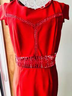 Vibrant Red Lace Dress size 10-12. Midi.