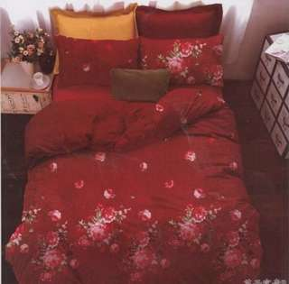 sprei merah motif bunga
