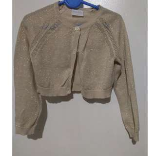 Cute Gold sparkling Cardigan for 3-5 year olds