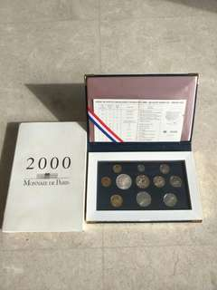 2000 FRANCE PROOF COINS SET WITH BOX & CERT