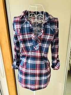 Lace up checkered shirt