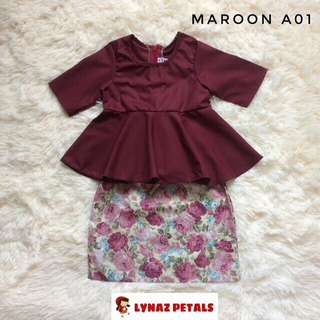 Peplum Set with Skirt #maroon