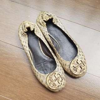 Tory Burch Snake Skin Flat Shoes