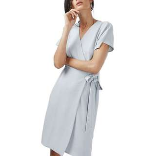 Topshop Blue Crepe Wrap Dress