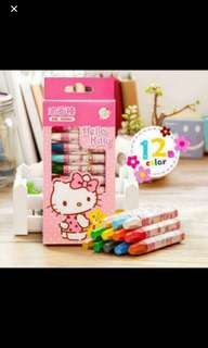 Authentic Sanrio Hello Kitty Crayon 12colours Brand New