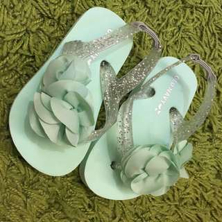 🚚 全新 old navy 涼鞋 Tiffany 綠 可愛花朵