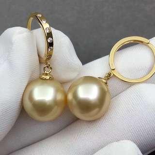 18K金 南洋金珠鑽石耳環