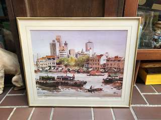 boat quay painting Art print in frame