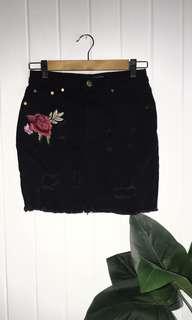 Embroidered Rose Black Denim Skirt