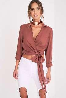 PRETTYLITTLETHING Avalyn Dark Rose Wrap Front Tie Side Blouse