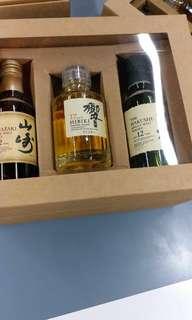 響17,山崎12,白州12年威士忌酒辦50ml,各一支禮盒。每盒