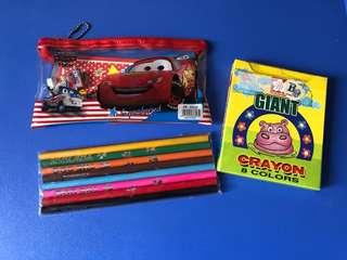 Racing car文具套裝+顏色筆+crayon