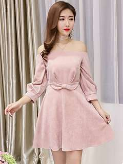 Long-Sleeve: Pink Boat Neck Bowknot Waist Stripes Dress (S / M / L / XL) - OA/YZE021014