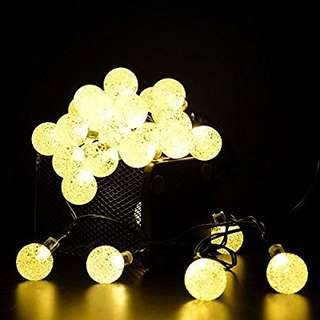 337.Outdoor Solar String Light garland 30LED Fairy String Lights Bubble Crystal Ball Lights Decorative Lighting for Indoor, Garden, Home, Patio, Lawn, Party,Holiday,Ooutdoor Decor(20FT) (warm white)