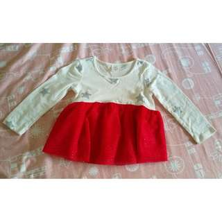 9.9成新「baby Gap」薄長白底銀星紅紗裙洋裝/上衣 18-24M