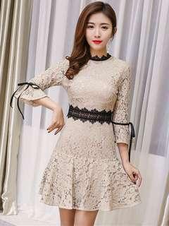 Long-Sleeve: Khaki Lace Floral Flare Sleeve A-Line Dress (S / M / L / XL) - OA/YZE021011