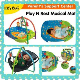 K's Kids Play N Rest Musical Mat with Detachable Hanging Toy Flexi-Arch