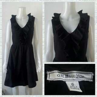 G.H. Bass & Co. Black Ruffled Office Dress