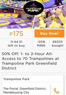 REPRICE 50% OFF Vouchers Trampoline park