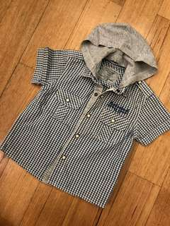 Boy shirt with detachable hoodie (12 mth)