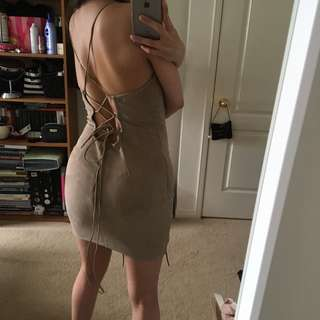 SUEDE TIE UP DRESS