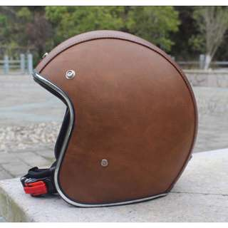Brown Leather with Silver Lining Motorcycle Helmet Open Face Three Button Snap Retro Vintage Vespa Scooter Cafe Racer Motorbike Leather Gloss Old School