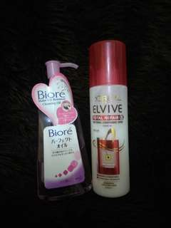 Loreal  elvive conditioning spray n biore make up remover