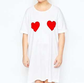 Embroidered Heart Plus Size Tee Shirt Dress