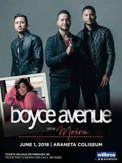 VIP TICKET. Boyce Avenue with Moira